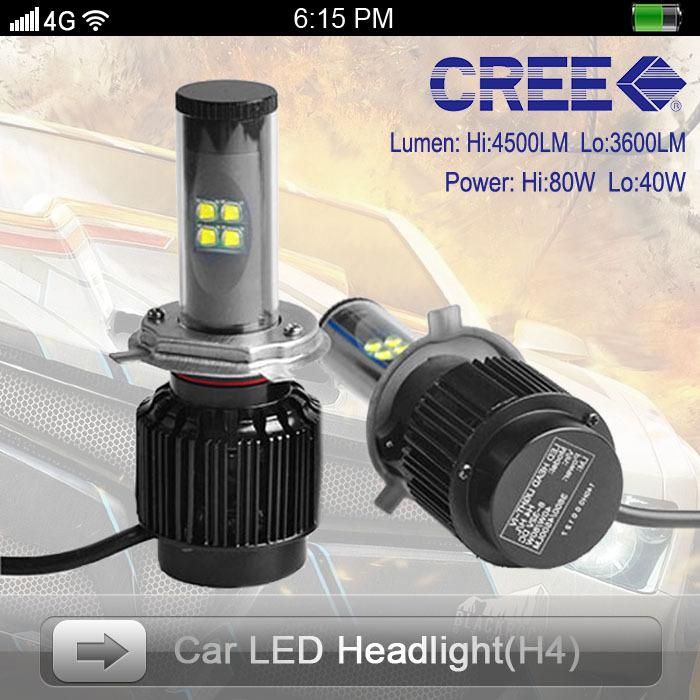 USA Stock Fashion Style 1 Set H4 H/L 80W 4500LM CREE Led One Car Headlight Lamp DRL 5000K 6000K 8000K White Driving Light - Shenzhen Prime Digital Company Ltd. store