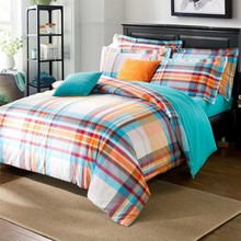 Cozzy Blue Orange Stripe Plaid Sanding Cotton 4 pcs Bedding Set ( Duvet Cover Trimmed Bed Sheet 2 Pillowcases ) Queen King Size(China (Mainland))