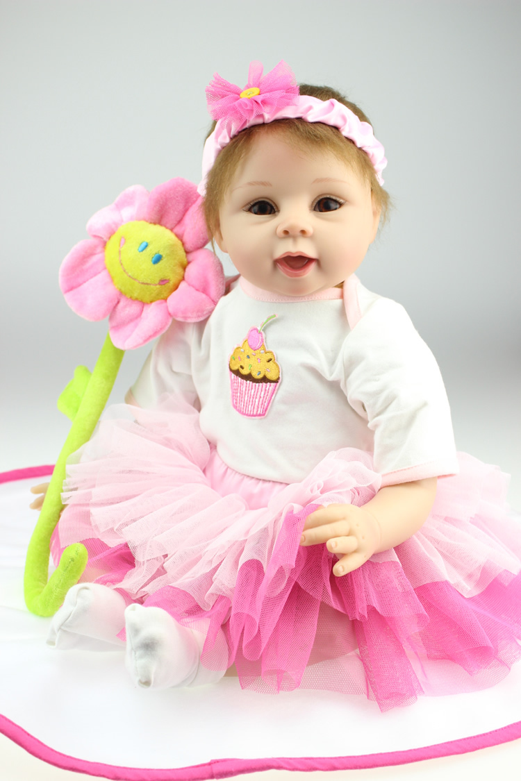 22 inch 55cm baby reborn Silicone dolls, lifelike doll reborn babies for girl Children's toys Sun flower doll(China (Mainland))