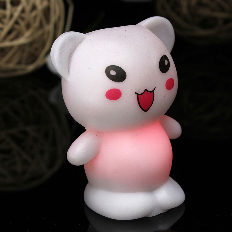 Hot 7 Colors Changing LED Lamp White Cute Christmas Lovely Bear Plastic Kids Decor Lamp Home Decor Battery Night Light Gift(China (Mainland))