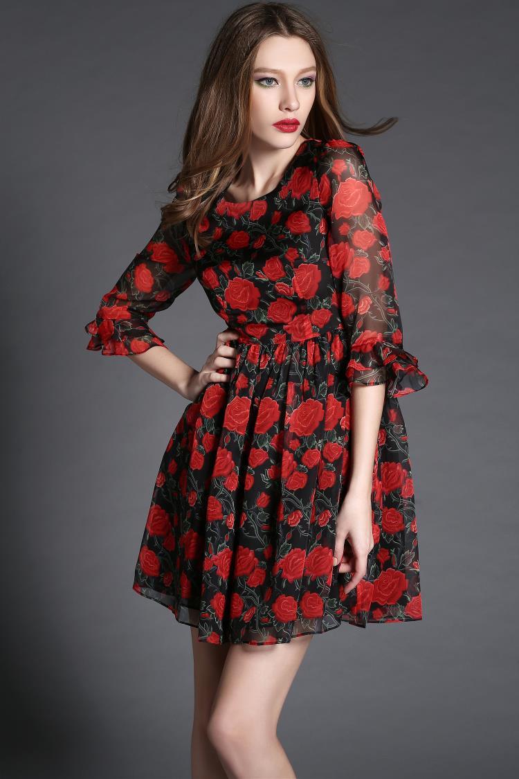 2015 summer new Europe and seven Lotus sleeve slim fit slim elegant rose print dress T2810(China (Mainland))