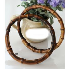 2 X Replacement Natural Bamboo Round Bag Handles Ring DIY Vintage Brown 13/17cm 045-301(China (Mainland))