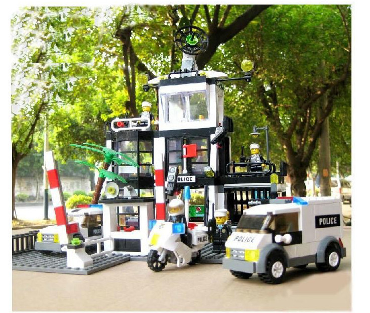 Police Stations 63Kazi 6725 Building Block Set Brick Minifigures Kids Gifts Military Series Toys Sets Compatible Lego