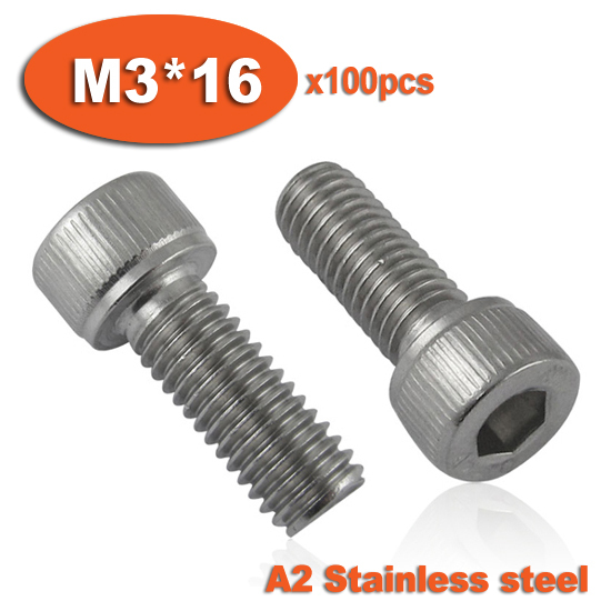 100pc DIN912 M3 x 16 Screw Stainless Steel A2 Hexagon Hex Socket Head Cap Screws<br><br>Aliexpress