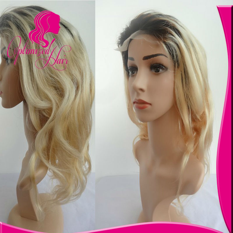 Thick lace front wig 1b/blond hair 1b 613 ombre virgin brazilian hair wigs(China (Mainland))