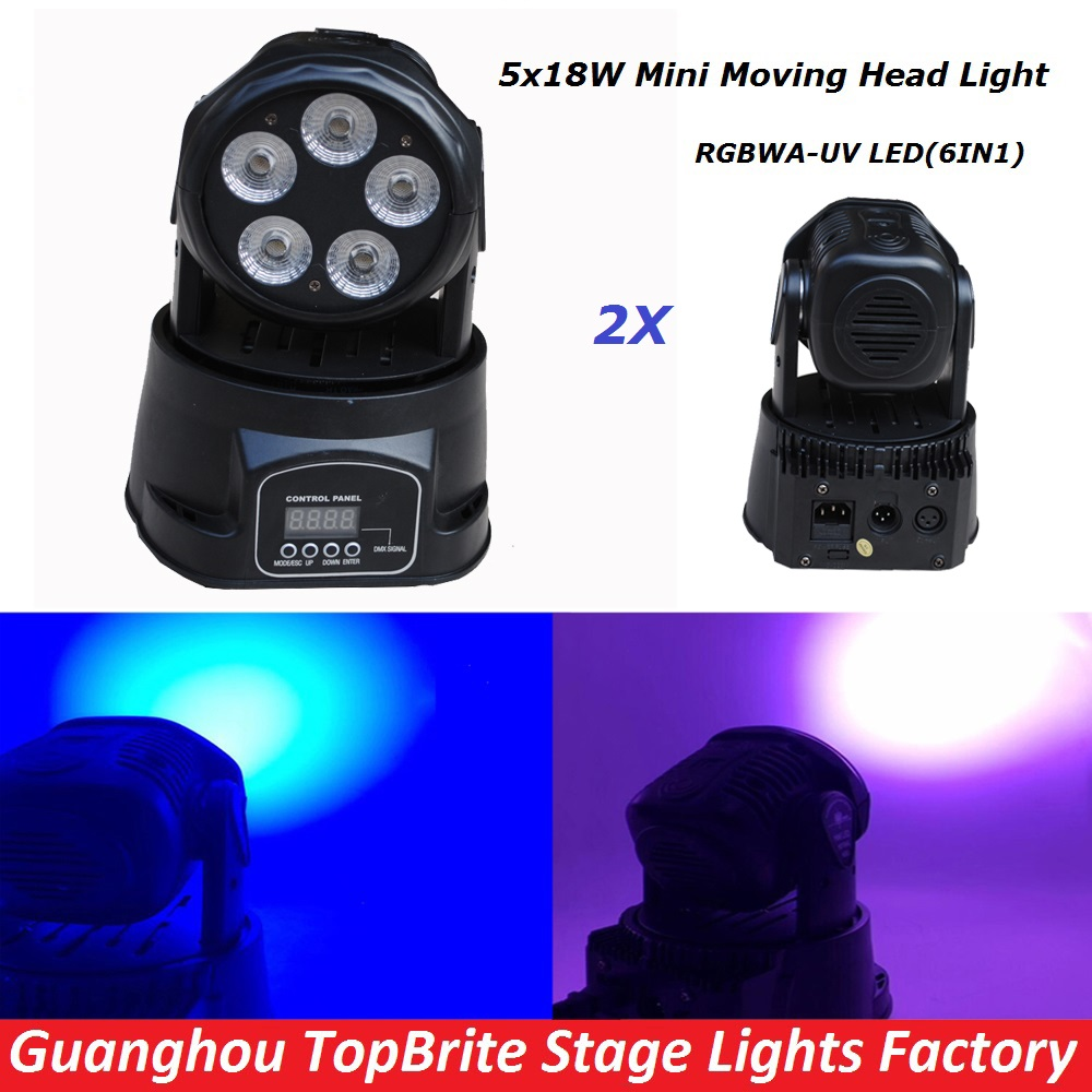NEW 2Pcs/Lot 5*18W 6IN1 RGBAW - UV Mini LED Moving Head Wash Light , 90W Stage Moving Head Beam Light For DJ Disco Wedding Party(China (Mainland))