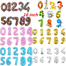 """1pcs 16"""" Helium Balloons Foil Balloon Silver/Gold/pink/blue Number Balloons Birthday New Year Party black animal Balloon"""