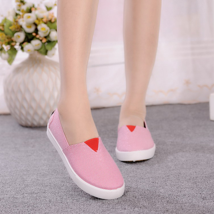 Canvas Shoes Women 2016 Spring Summer Pink Blue Striped Flat Shoes Woman Casual Slip On Flats Women Shoes Zapatos Plus Size EU40<br><br>Aliexpress