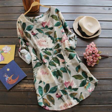 Деревенский цветы пиона свежий весенний зеленые листья печать o-шея широкий рубашки ...
