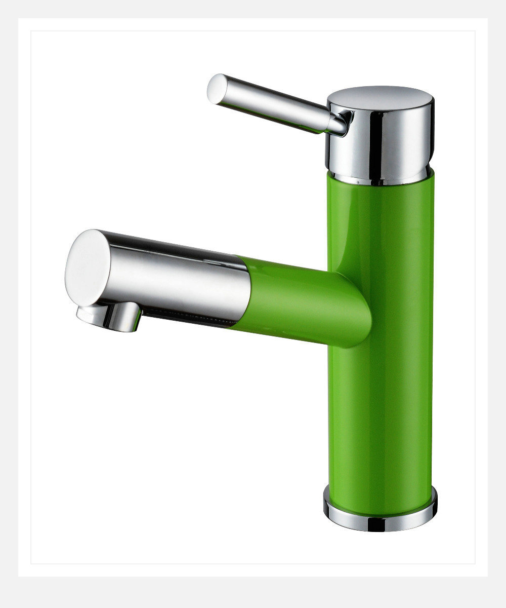 Green Painting Chrome Deck Mounted Brass Pull Out Spray Bathroom Vanity