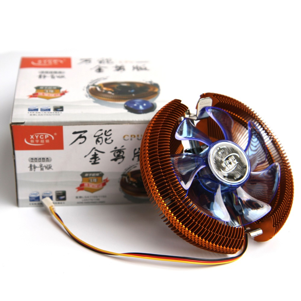 Mute Golden CPU Cooler Heatsink 12 PC cooling Fan Rediator For intel LGA775/LGA1155/LGA1156/LGA1150 For AMD 754/AM2/AM2+/AM3(China (Mainland))