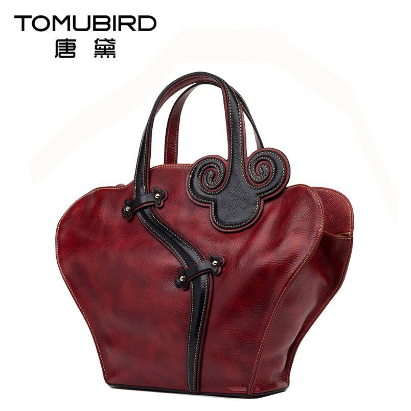 2016 New women genuine leather bag brands top quality cowhide national wind fashion luxury women leather handbags bag(China (Mainland))