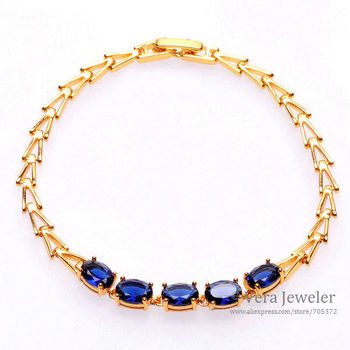 24KGP Yellow Gold Plated Arrow Links Gold Chain Oval Sapphire Blue Cubic Zirconia CZ Crystal Bracelets for Women Fashion Jewelry