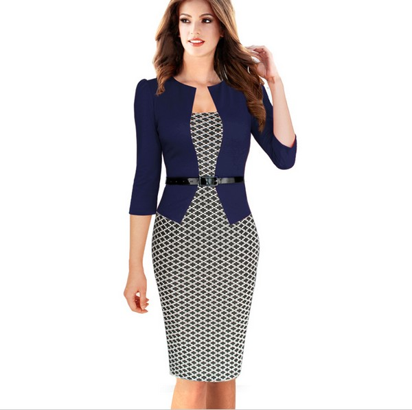 Womens Elegant Faux Twinset Leopard font b Tartan b font Floral Patchwork Pencil Sheath Bodycon Dress