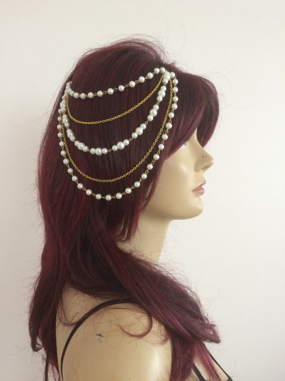 HC-187 Simulated Pearl Celebrity inspired multilayer headpiece, Bohemian wedding, head jewelry, Ancient Egyptian headpiece(China (Mainland))