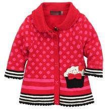 2014 new autumn and winter brand catimini children clothing girls European American Wind red wool coat pocket Polka Dot 2T-10T