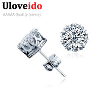 Rhinestone Earrings with White Stones for Men Women Jewelry Brincos Wedding Accessories CZ Diamond Earring with Topaz Y048(China (Mainland))