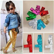 Fashion Trend Baby Kids Girls Shiny Solid Skinny Leggings Pants Trousers 1-9Y PF(China (Mainland))