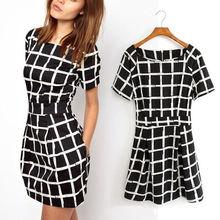 Buy Summer Women Fashion Plaid Checks Chiffon Mini Dress Casual Short Sleeve Slim Tunic Short Dresses Party Night Vestidos Plus Size for $4.79 in AliExpress store
