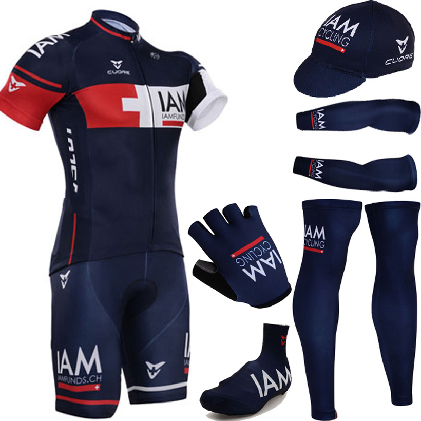 2015 I AM Cycling Team Jersey bibs shorts set with blue cycling warmers and half finger bicycle gloves<br>