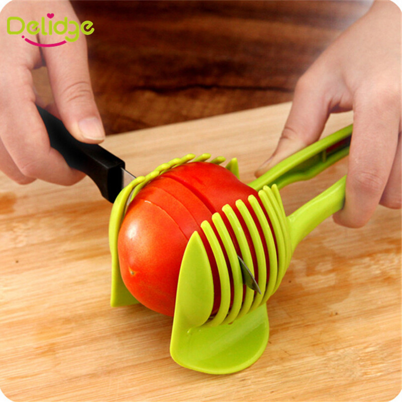 1pc Tomato Slicer Fruits Cutter Stand Tomato Lemon Cutter Utensilios De Cozinha Assistant Lounged Shreadders Slicer Random Color(China (Mainland))