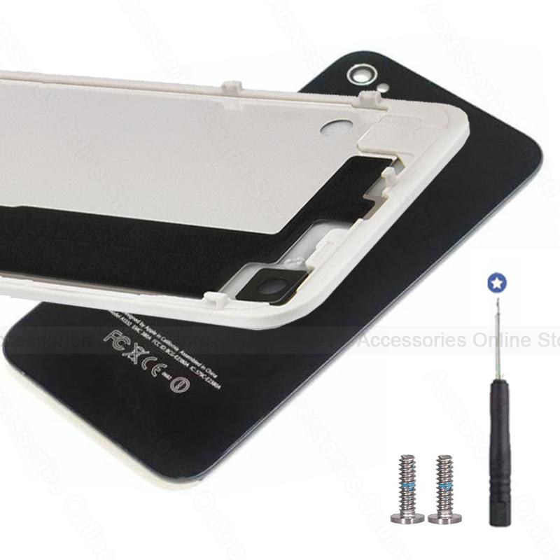 Rear Back housing Battery Cover Glass Door Case For Apple iPhone 4 4S 4G Black White With Free Screws Tool Replacement #(China (Mainland))