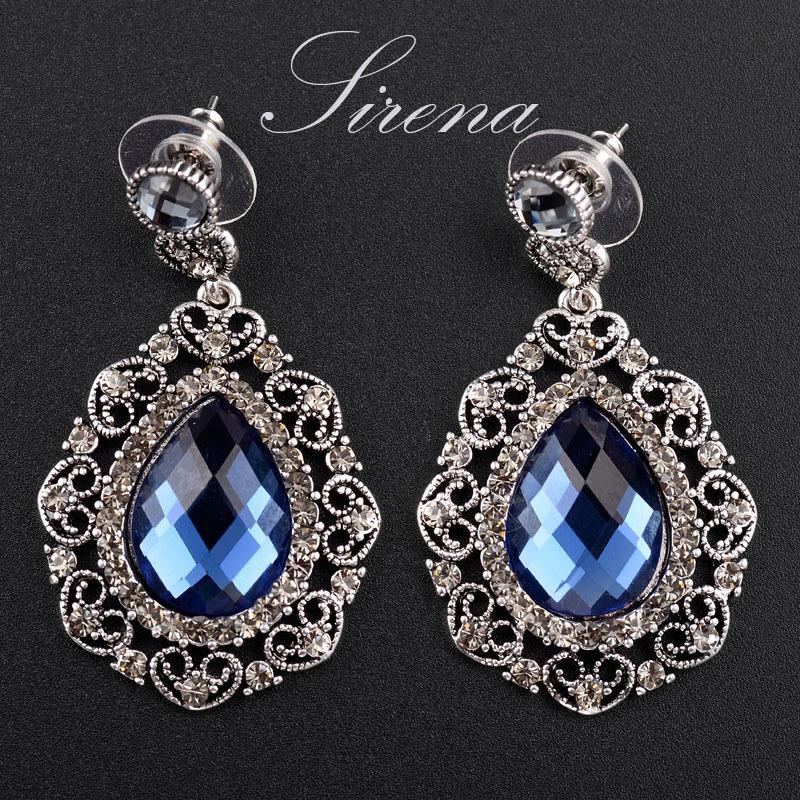 EC123 EC124 Luxury Bohemian Dangle Drop Chandelier Tears Austrian CZ Big Crystal Rhinestone Vintage Silver Color Earrings - SIRENA Jewelry store