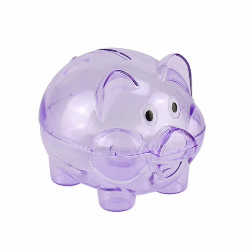 Purple plastic clear transparent coin pig money bank for Transparent piggy bank money box
