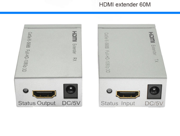 HD 1080P HDMI Extender TX/RX 60M CAT6 RJ45 Ethernet Cable Support HDMI 3D for HDTV DVD Player Free Ship(China (Mainland))