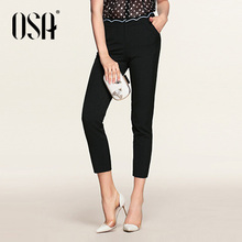 OSA 2016 new arrival Spring Pencil Pants solid black  Women Splice Slim Trousers Feminino Casual Plus Size SK508019(China (Mainland))