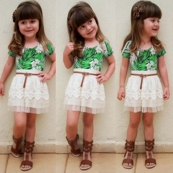 New Summer Style kids clothes baby girl Wear Casual Two Pieces T Shirt Tops and Lace Skirt clothing Set 1-7 Years 34(China (Mainland))