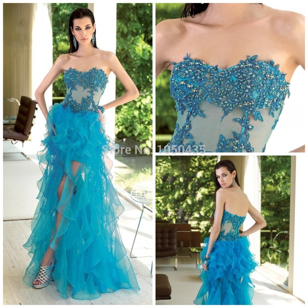 Sexy Light Blue Short Front Long Back Formal Evening Dresses Applique Prom Party Coral Colored - Stars wedding dress store