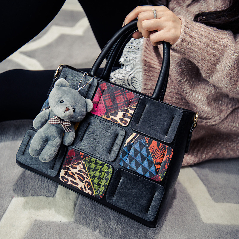 FREE SHIPPING New High Quality Women Tote Handbag Splice Shoulder Bags Lady Patchwork Tote Bags Office Bags(China (Mainland))