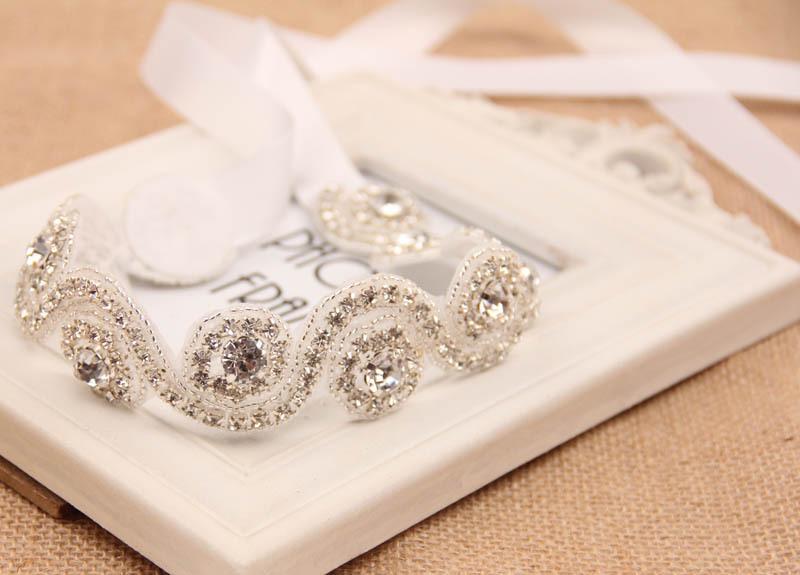Свадебные аксессуары для волос, винтаж вдохновленный горный хрусталь повязка на голову кристалл жемчуг свадебные повязка на голову женщины лоб ювелирные изделия волос