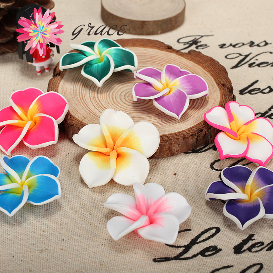 10pc/lot 35mm MultiColored Polymer Clay Fimo Artificial Plumeria Frangipani Flower Bead For DIY Hawaiian Jewelry Craft Making(China (Mainland))