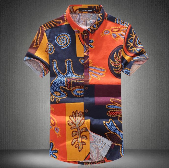 2016 High Quality Summer Mens Fashion Floral Shirts Hawaiian Men Short Sleeve Shirt Linen Dress Casual Shirt For Men 6XL 9 Style(China (Mainland))