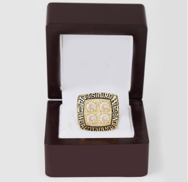 Copper rings 1979 Pittsburgh Steelers Super Bowl replica championship rings size 10-13 on sale wood case men rings(China (Mainland))