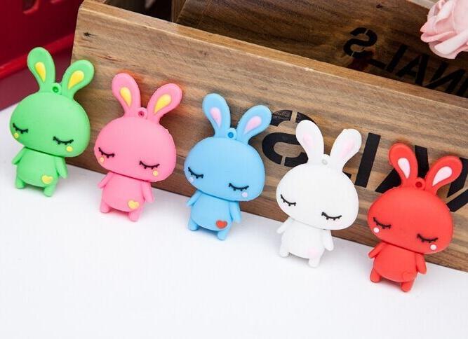 Cute Rabbit TRUE100% Usb Flash Drive 16GB 32gb Pen Drive Usb 64GB 128GB Memory Stick Pendrive 512GB 256GB Gift 2.0 Disk On Key(China (Mainland))