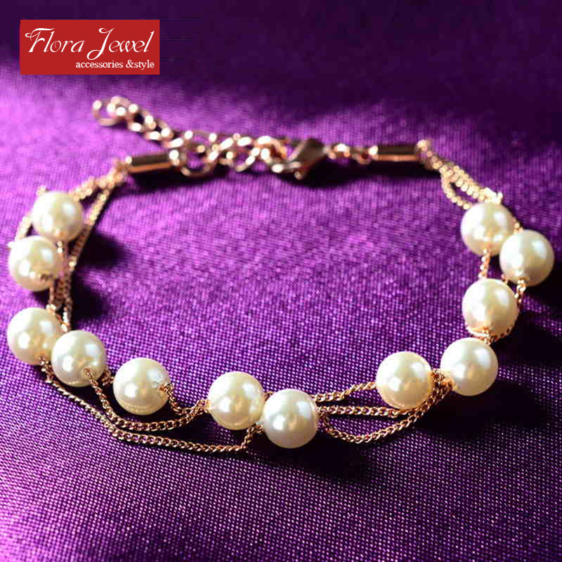 New arrival best gift for women high fashion designer brands multi-layed imitation pearl bracelet(China (Mainland))