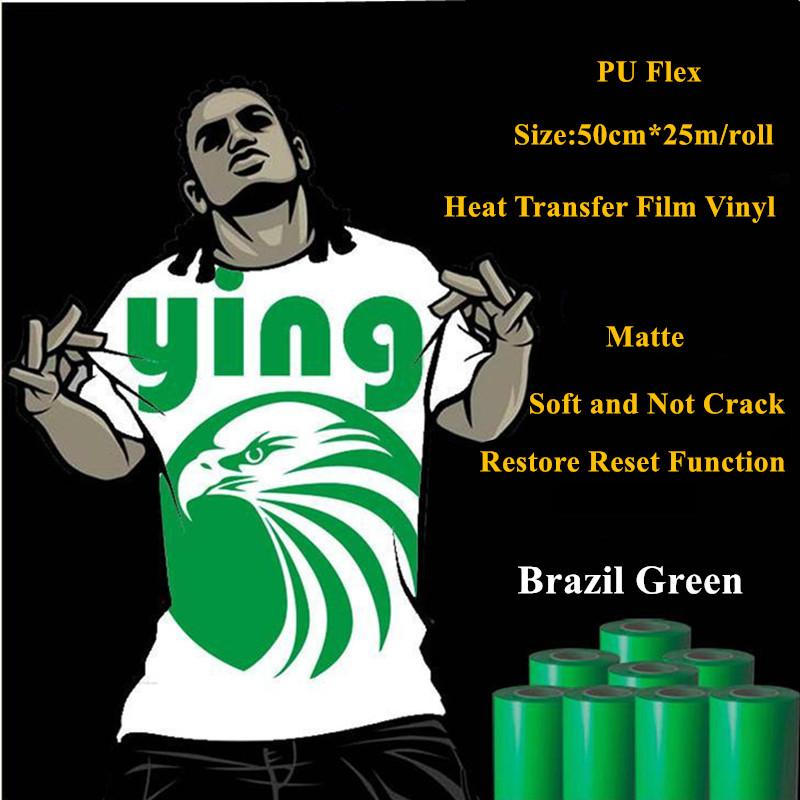 PU Flex heat transfer vinyl for clothing brazil green thermel press film for t shirt heat transfer film vinyl 50cm*25m/roll(China (Mainland))