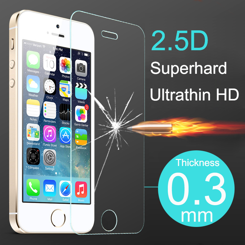 Top Quality 2.5D Ultrathin Premium Tempered Glass Screen Protector for iphone 5 5s 5c Protective Film Case For iPhone 5 5s 5c(China (Mainland))