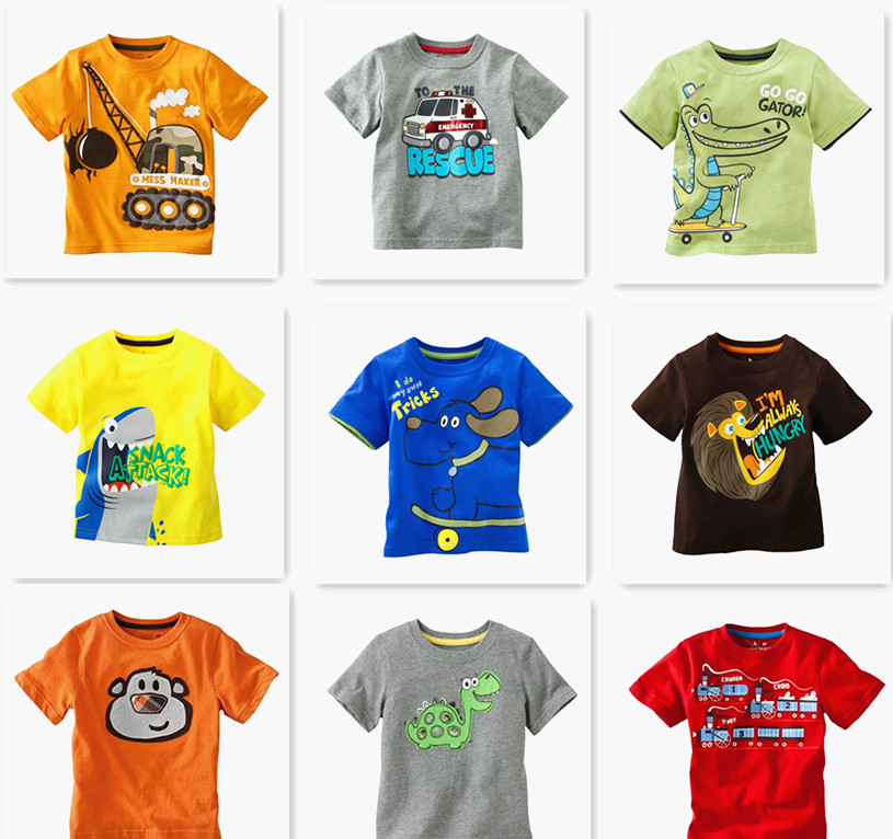 Retail Brand 2015 Children's blouse T-shirt Kids Baby boys Clothing tshirts Summer Clothes Cartoon Dinosaur Car free shipping(China (Mainland))