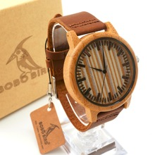 TOP Brand Watches with Genuine Leather Band Wooden Wristwatch for Men and Women Japan Move' 2035 Quartz Watch BoBo Bird