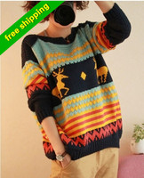 high quality woolen O- collar pullover animal reindeer  sleeve long Knitted Winter Warm oversized Christmas casual sweater Women