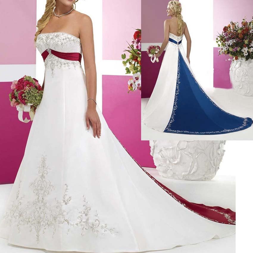 popular royal blue and white wedding dressesbuy cheap