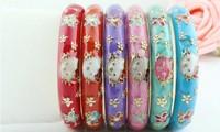 Kid's/Children  Hello Kitty Enamel Cloisonne Cuff Bangle Bracelet 12Pcs/Lot Free Shipping color random