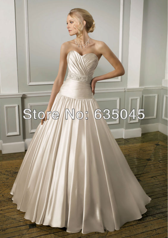 High Quanlity New Custom Made Bridal Gowns Satin Luxury Crystal Beading Pleat Elegant A Line Wedding