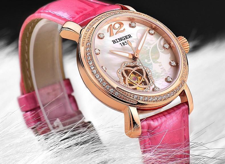 2016 Fashion watches luxury brand Binger stainless steel women Leather Flower wristwatches Rhinestone Switzerland watch