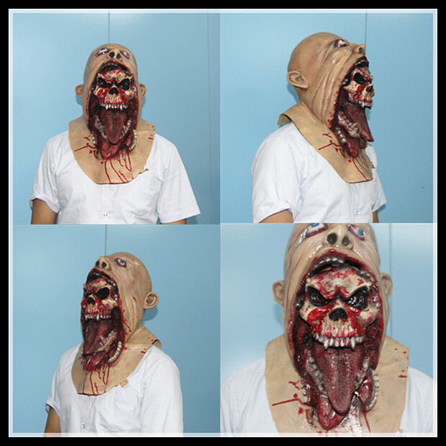 Halloween horror ghost Mask 2016 New Horror ghost Skull Face Mask Silicone Horror Ghost Mask Party Cosplay Masks  Free Shipping