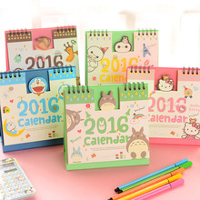 Year 2016 Cute creative Cartoon Characters 3D Desktop Paper Calendar dual Daily Scheduler Table Planner Yearly Agenda Organizer(China (Mainland))